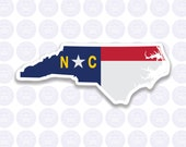 North Carolina Decal - NC State Flag Decal - North Carolina State Bumper Sticker - State of NC Decal - NC Flag Decal Permanent or Removable