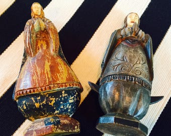 Antique Virgin Mary Wodden Statues with Hand-carved Bone Faces.