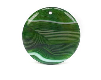 Green and White Agate Necklace Pendant, Summer Necklace Pendant G988