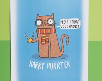 Harry Purrter - Harry Potter inspired - signed A4 Print - Katie Abey - Cat print - Not today Voldemort - motivational quote