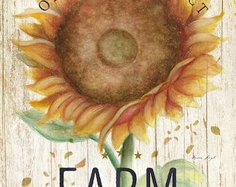 Sunflower Harvest Farm Print
