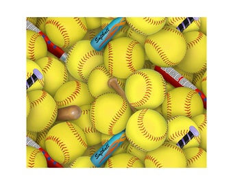 Softball~Tossed Balls and Bats~Softball Sports~ by Elizabeth's Studio~Cotton Fabric, Fast Shipping,S191