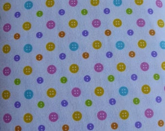 Summer Sale- Cotton Flannel Fabric,  RicRac Paddywack~Multicolor Buttons by Henry Glass, Fabric, By the Yard, FL145