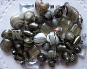 RESERVED FOR REBECCA - 55 Pc Mixed Grey Beads | Gray Beads | Murano Style Glass | Lampwork Style Glass | Glass Beads