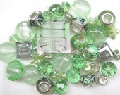 RESERVED FOR REBECCA - 40 Pc Mixed Green Beads | Mint Green | Murano Style Glass | Lampwork Style Glass | Glass Beads