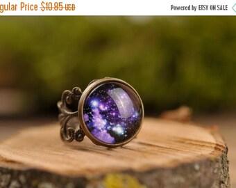 20% OFF Galaxy ring, filigree ring, adjustable ring, statement ring, antique brass ring, space ring, universe ring, nebula ring,  jewelry gi