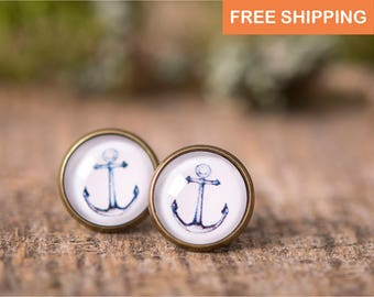 Anchor earrings, nautical earrings, anchor stud earrings, post earrings, stud earrings, anchor jewelry, nautical jewelry, sea earrings