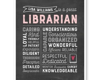 Librarian Gift, Book Lover Gift, Bibliophile Gift, Librarian Chalkboard, Librarian Christmas Gift, School Librarian Thank You