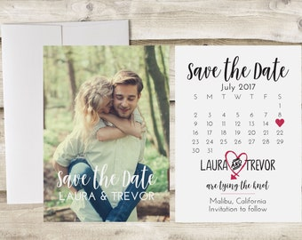 Calendar Save The Date Card, 5x7 Save the Date, Photograph Save the Date, Save Our Date, Custom Personalized, Engagement Announcement