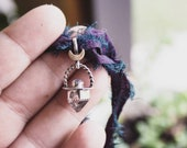 Mini Quartz & Moonstone Pendant with Brass Moon