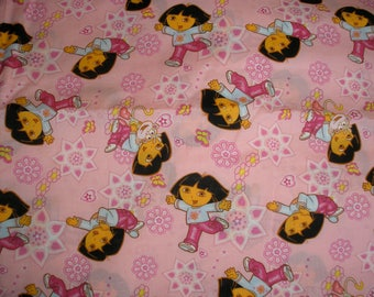 """DORA the Explorer and Boots the Monkey, Pink Print Cotton QUILT FABRIC Material, 2005 Viacom, 76"""" x 45"""""""