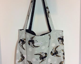 Birds /large reversible and reusable shopping bag