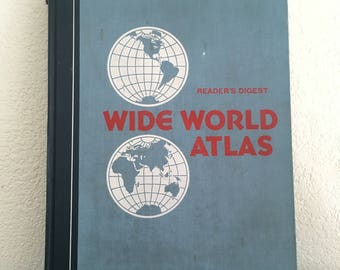 1979 Reader's Digest Wide World Atlas, Large World Atlas Book, ISBN 0-89577-062-8, Colorful Maps with Large Index, Hardcover Atlas