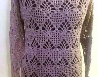 Crochet long sleeved summer top