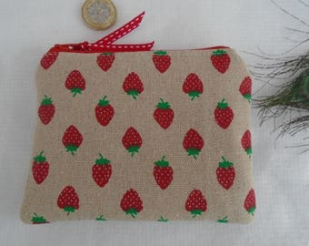 Handmade Coin Purse Wallet Pouch Strawberry Print Rustic Linen Fabric Fully lined with Red Polka Dot cotton lightly padded gift pocket money