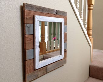 Rustic Mirror, Mirror, Rustic Furniture, Wall Mirror, Rustic Wood Wall Decor, Rustic Home Decor, Reclaimed Wood Wall Art, Rustic Wood Sign
