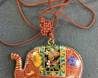 Red Cloisonne Elephant Pendant. Free shipping