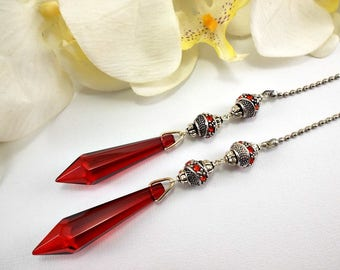 Set of Two, Red Crystal Ceiling Fan Pulls, Light Pull, Fan Pull, Crystal Fan Pull, Silver Ceiling Fan Pull, Silver Ball Chain Pull