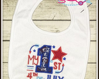 Personalized 1st 4th of July Bib--Babys 1st 4th of July