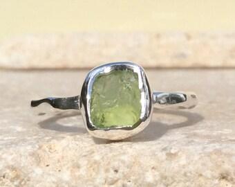 Raw Peridot Silver Ring, US 8.5, Raw Stone Ring, Peridot Ring, Rough Gemstone Ring, Natural Gemstone Silver Ring, August Birthstone Ring