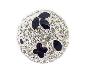 Black button and rhinestone diamond 21 mm