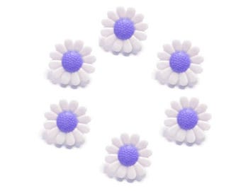 6 buttons, white and purple daisy flowers