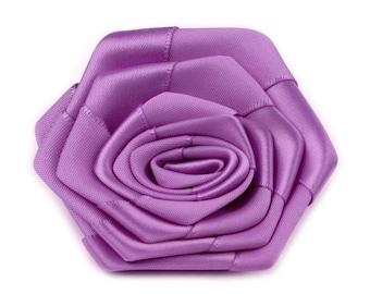 2 flowers satin purple 7 cm