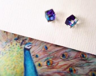 Heliotrope (needles in 925 Silver) swarovski crystal cube earrings