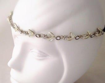 Headband headband headband with elastic flower Crystal rhinestone silver and white