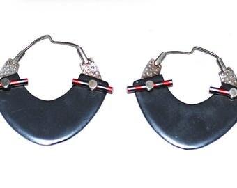80s Avant Garde Sterling & Aluminum (or Titanium) Earrings, Vintage Modernist Studio Artisan Wearable Art Handmade OOAK Jewelry Memphis Era