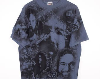 JERRY GARCIA all over print shirt - vintage 90s - grateful dead - XL