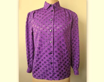Purple vintage Louis FERAUD blouse, size 40, US 8, UK 12
