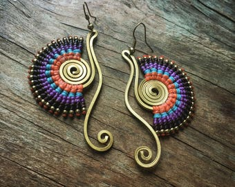Macrame Earrings,Macrame Bohemian Earrings , Tribal macrame earring ,hippie earrings, boho chic earrings, fan earrings, gift women