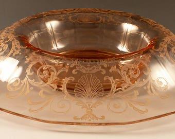 "Fostoria Versailles Pink Rolled Rim Console Bowl Mushroom Centerpiece 12"" Elegant Vintage Glassware Etched Crystal Etch"