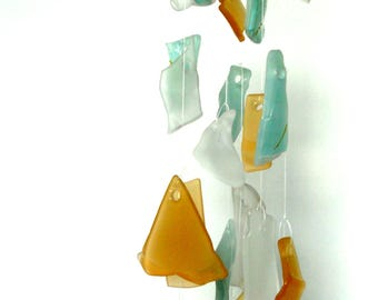 Glass wind chime - tumbled glass mobile - tumbled glass wind chime