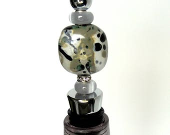 Beaded Wine Bottle Stopper - Glass beaded stopper - Glass beaded wine stopper