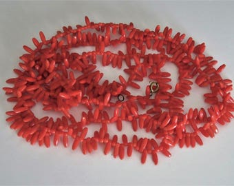 Lovely Vintage Red Coral Glass Long One Strand Necklace