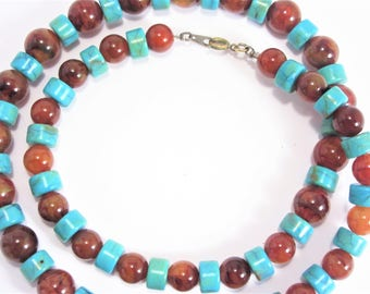 Vintage Amber Lucite Turquoise Bead Necklace 24 Inch Long