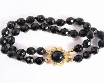Vintage Double Strand Black Glass Bead Bracelet 60s