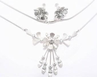 Vintage Krementz Necklace Earrings Rhinestone Jewelry Set with Box