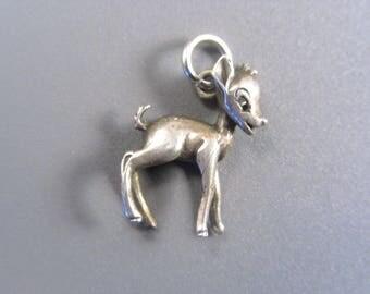 Adorable Vintage Sterling Deer Fawn Charm for Charm Bracelet