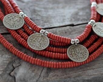 Ukrainian traditional Jewelry - Ukrainian multi strand necklace - Ukrainian ethnic necklace - Ukrainian necklace with coins - Ukrainan