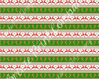 Christmas reindeer and candy cane pattern craft vinyl pattern sheet - HTV or Adhesive Vinyl -  holiday vinyl red and green stripes HTV1397