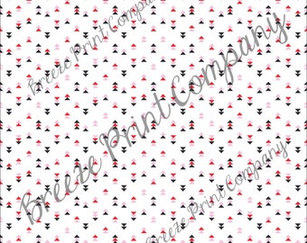Craft pattern HTV black, red, light pink and white triangle craft vinyl printed sheet - HTV or Adhesive Vinyl -  Valentine's HTV3753 modern