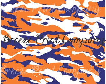 Navy, orange and white camouflage craft  vinyl sheet - HTV or Adhesive Vinyl -  camo pattern  HTV1043