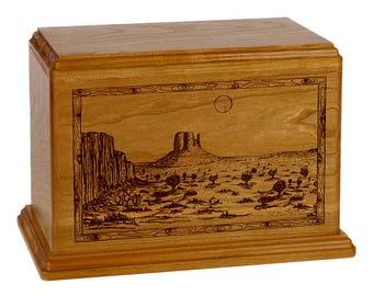 Mahogany Desert Wood Cremation Urn