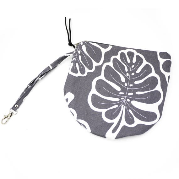 "Round Pouch Graphic ""Monstera"", medium-grey and white bag"