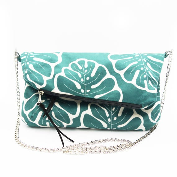 "Green and white ""monstera"" graphics clutch, brushed poly hand bag, foldover clutch"