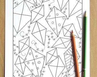 Geometric Kites - Adult Coloring Page, Downloadable PDF, Printable, Spring, Summer, Relaxation, Mindfulness, Children