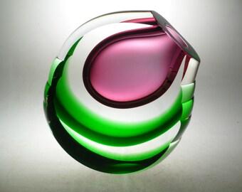 Czech art glass cut vase